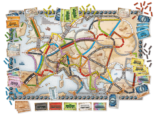 Leuk Familiespel: Ticket to Ride Europe Speelmateriaal