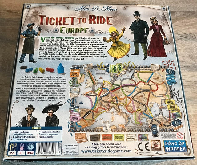 Ticket to Ride Europe: Achterkant van de Doos