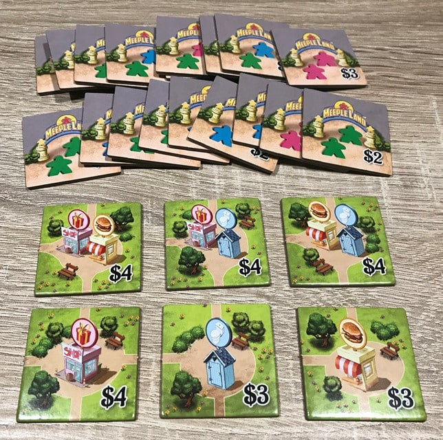 Meeple Land Bordspel: Kleine Dienstentegels