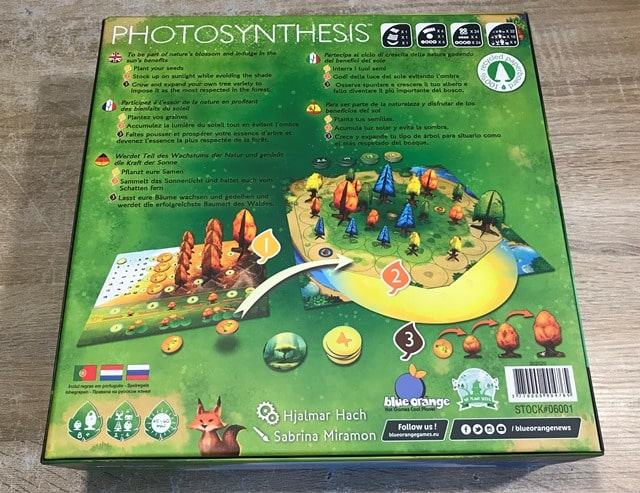 Photosynthesis Bordspel: Achterkant Doos
